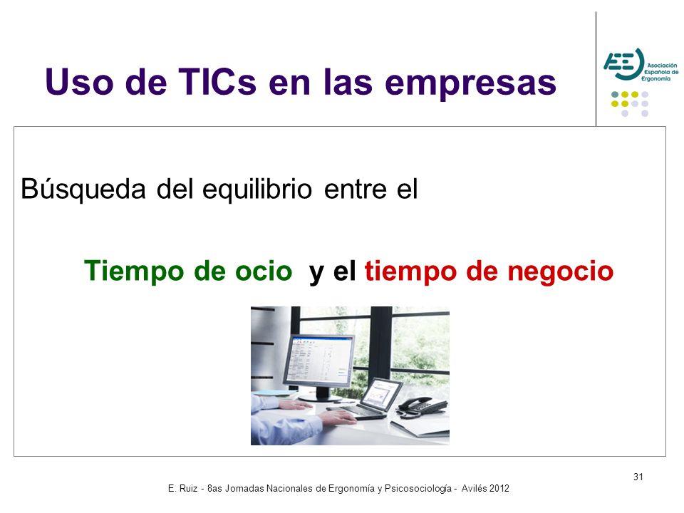 E. Ruiz - 8as Jornadas Nacionales de Ergonomía y Psicosociología - Avilés 2012 31 Búsqueda del equilibrio entre el Tiempo de ocio y el tiempo de negoc