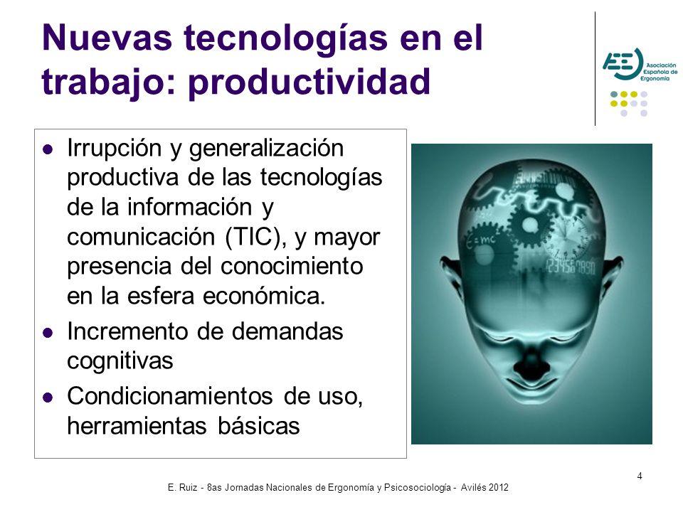 E. Ruiz - 8as Jornadas Nacionales de Ergonomía y Psicosociología - Avilés 2012 4 Nuevas tecnologías en el trabajo: productividad Irrupción y generaliz