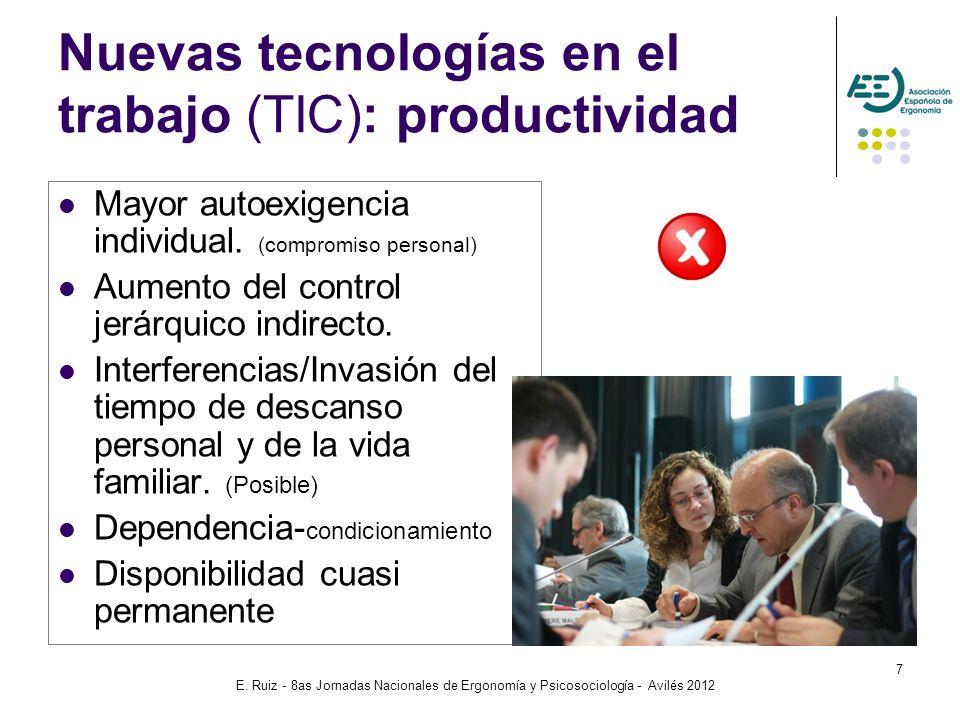 E. Ruiz - 8as Jornadas Nacionales de Ergonomía y Psicosociología - Avilés 2012 7 Nuevas tecnologías en el trabajo (TIC): productividad Mayor autoexige