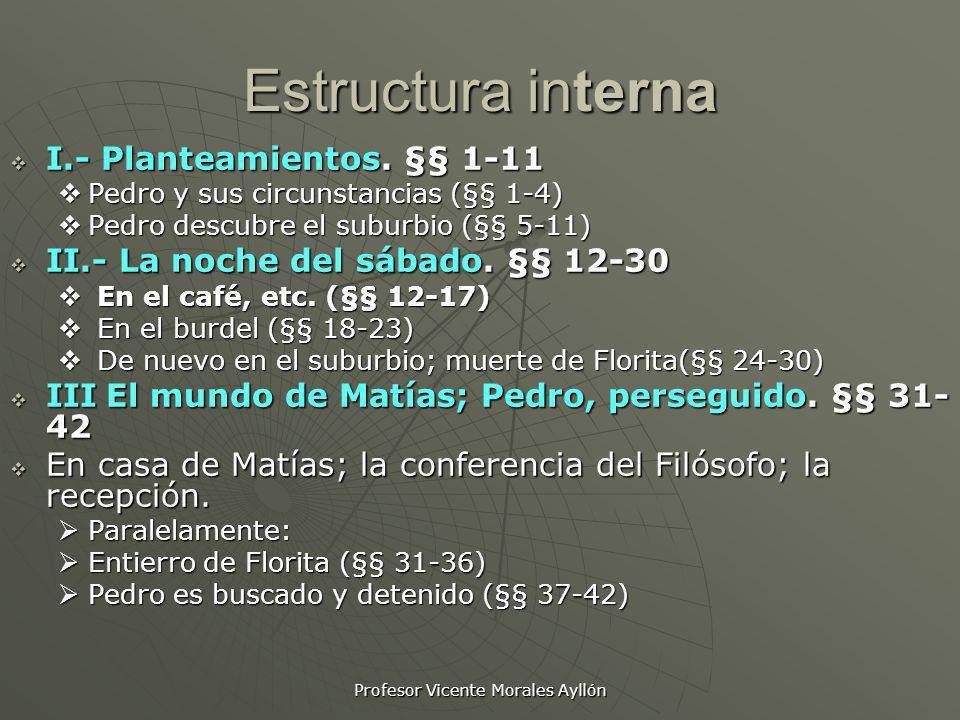 Profesor Vicente Morales Ayllón Estructura interna I.- Planteamientos. §§ 1-11 I.- Planteamientos. §§ 1-11 Pedro y sus circunstancias (§§ 1-4) Pedro y
