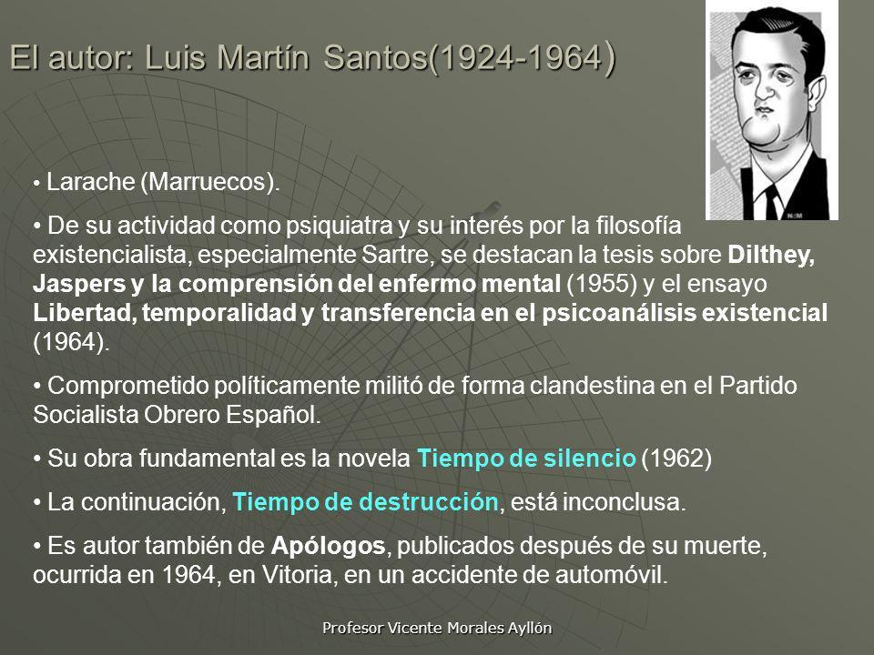 Profesor Vicente Morales Ayllón El autor: Luis Martín Santos(1924-1964) Larache (Marruecos). De su actividad como psiquiatra y su interés por la filos