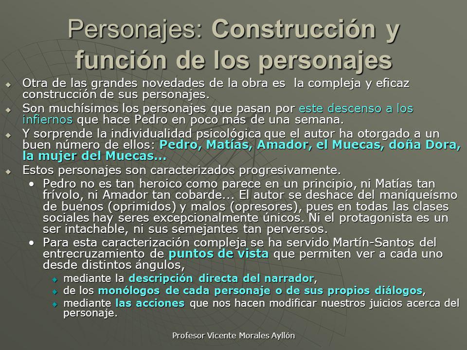 Profesor Vicente Morales Ayllón Personajes: Construcción y función de los personajes Otra de las grandes novedades de la obra es la compleja y eficaz