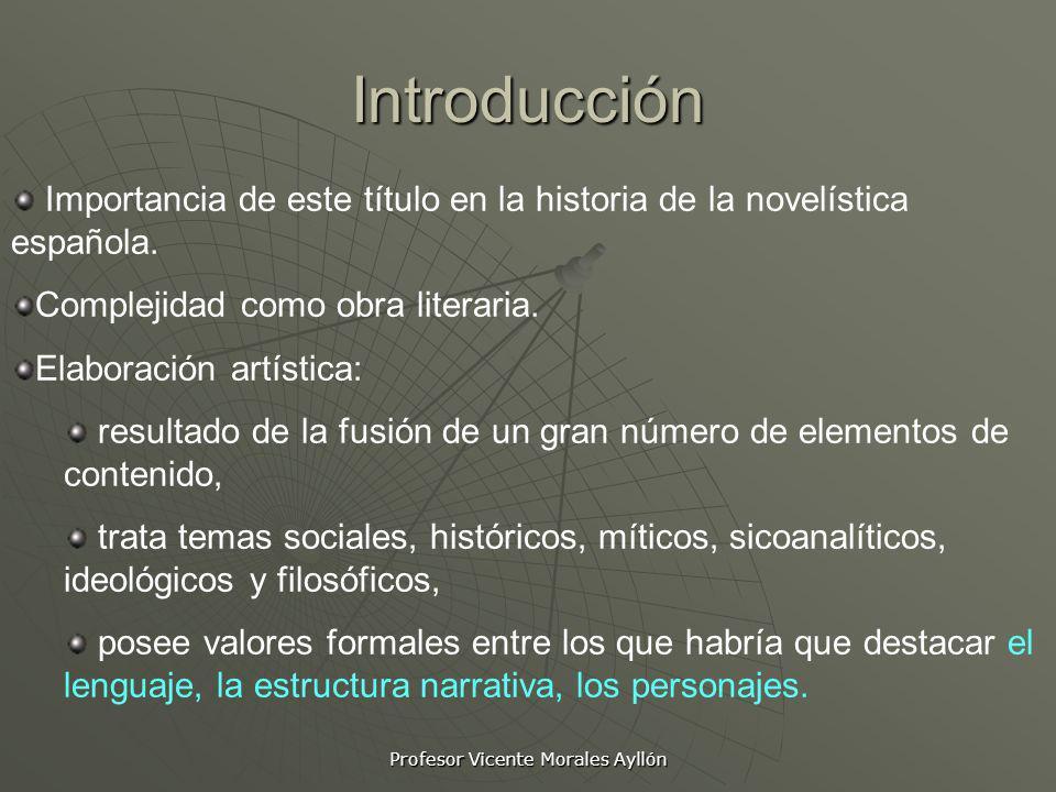 Profesor Vicente Morales Ayllón Introducción Importancia de este título en la historia de la novelística española. Complejidad como obra literaria. El