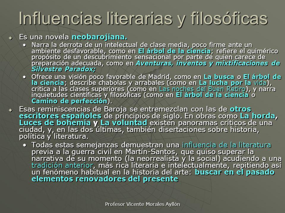 Profesor Vicente Morales Ayllón Influencias literarias y filosóficas Es una novela neobarojiana. Es una novela neobarojiana. Narra la derrota de un in