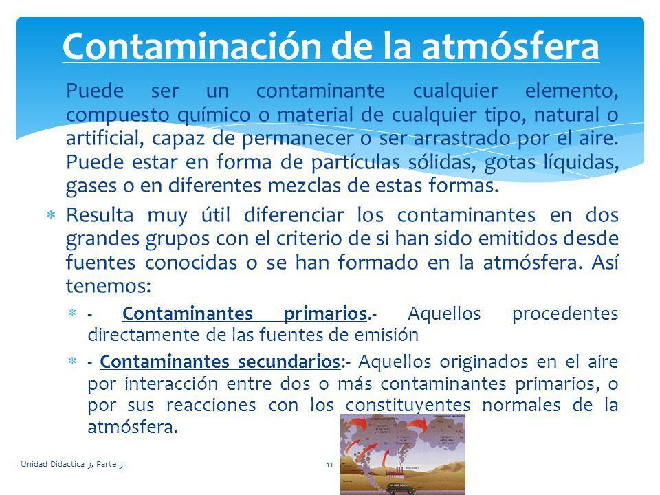 Puede ser un contaminante cualquier elemento, compuesto químico o material de cualquier tipo, natural o artificial, capaz de permanecer o ser arrastra