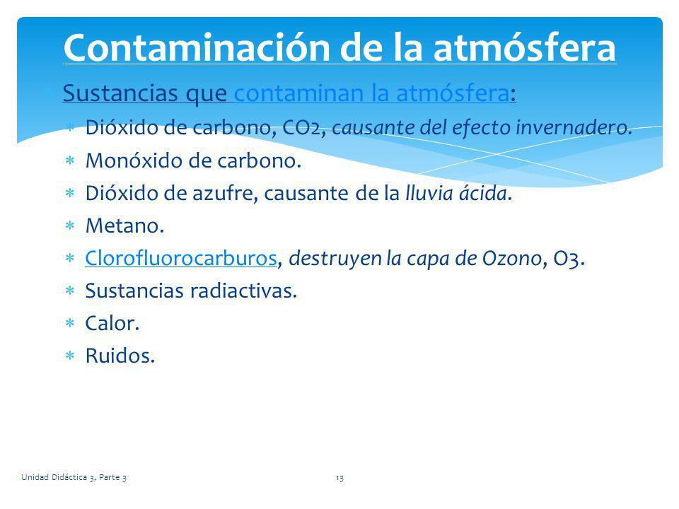 Sustancias que contaminan la atmósfera:contaminan la atmósfera Dióxido de carbono, CO2, causante del efecto invernadero. Monóxido de carbono. Dióxido