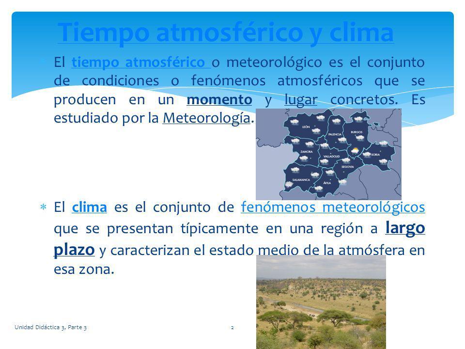 El tiempo atmosférico o meteorológico es el conjunto de condiciones o fenómenos atmosféricos que se producen en un momento y lugar concretos. Es estud