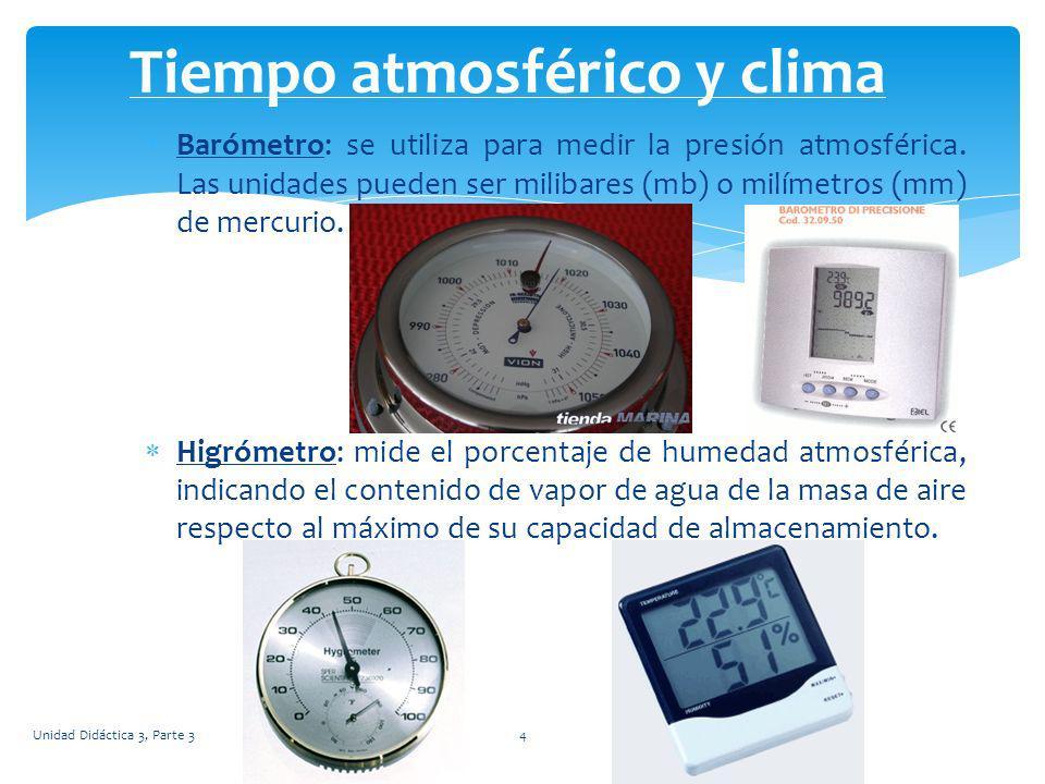 Barómetro: se utiliza para medir la presión atmosférica. Las unidades pueden ser milibares (mb) o milímetros (mm) de mercurio. Higrómetro: mide el por