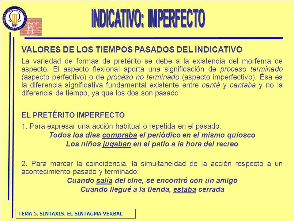 TEMA 5. SINTAXIS. EL SINTAGMA VERBAL VALORES DE LOS TIEMPOS PASADOS DEL INDICATIVO La variedad de formas de pretérito se debe a la existencia del morf