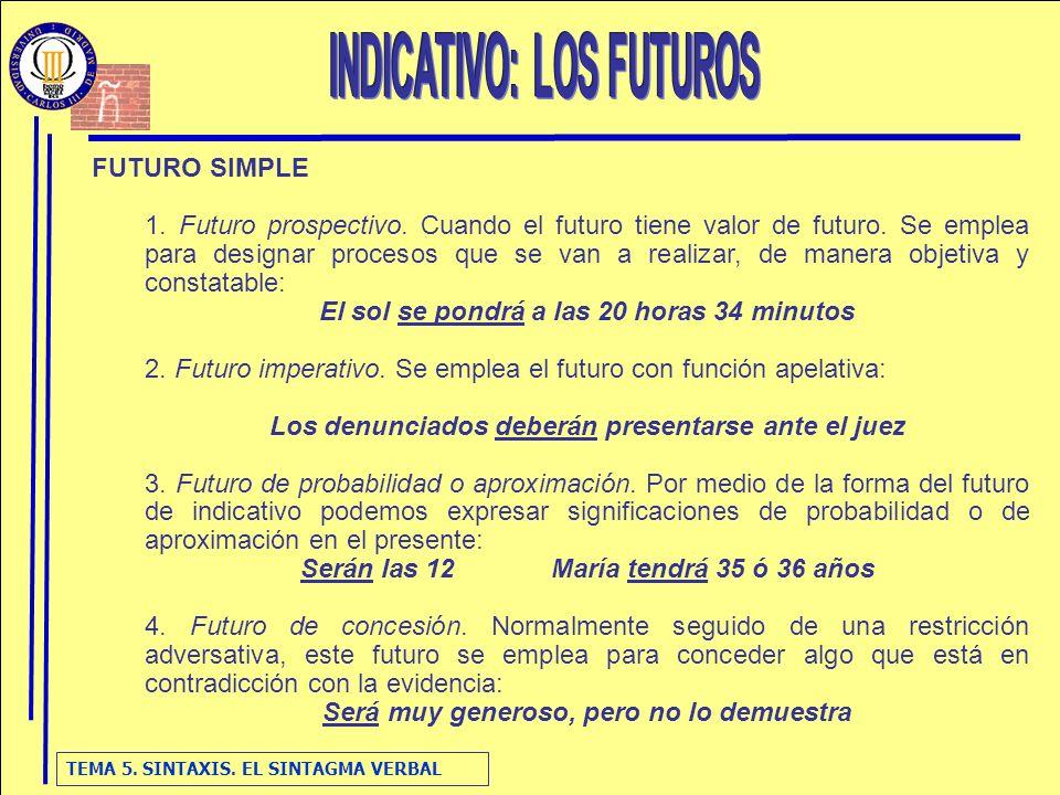 TEMA 5. SINTAXIS. EL SINTAGMA VERBAL FUTURO SIMPLE 1. Futuro prospectivo. Cuando el futuro tiene valor de futuro. Se emplea para designar procesos que