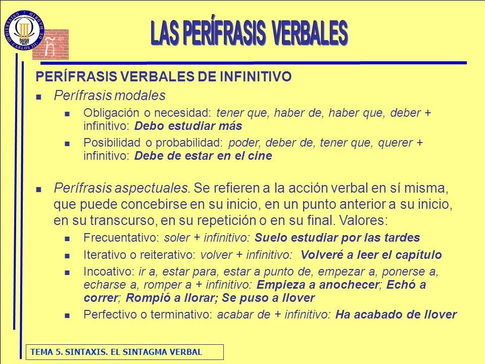 TEMA 5. SINTAXIS. EL SINTAGMA VERBAL PERÍFRASIS VERBALES DE INFINITIVO Perífrasis modales Obligación o necesidad: tener que, haber de, haber que, debe