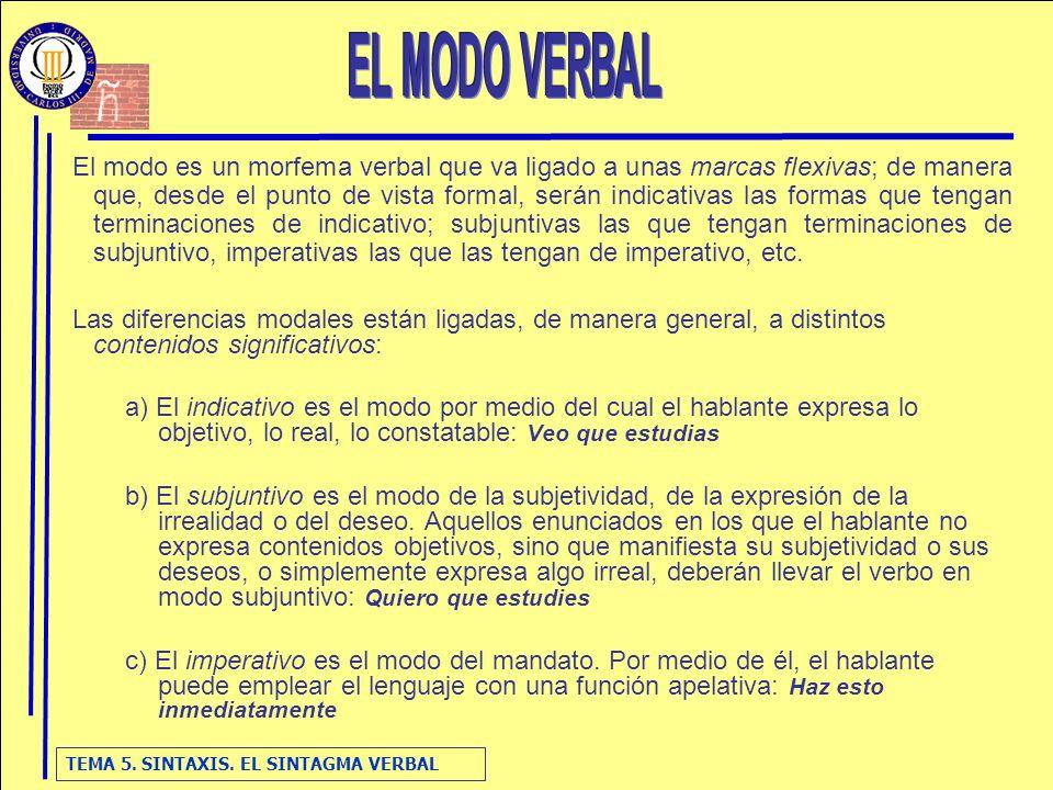 TEMA 5.SINTAXIS. EL SINTAGMA VERBAL 4. Valor imperativo.