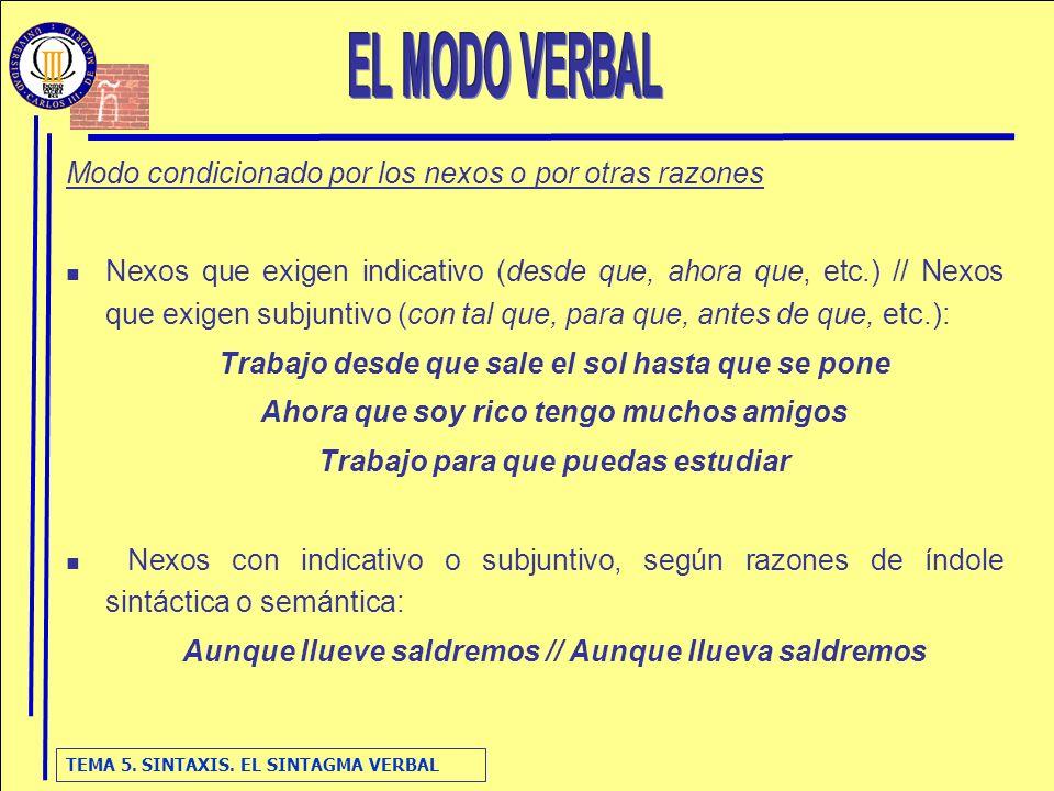 TEMA 5. SINTAXIS. EL SINTAGMA VERBAL Modo condicionado por los nexos o por otras razones Nexos que exigen indicativo (desde que, ahora que, etc.) // N