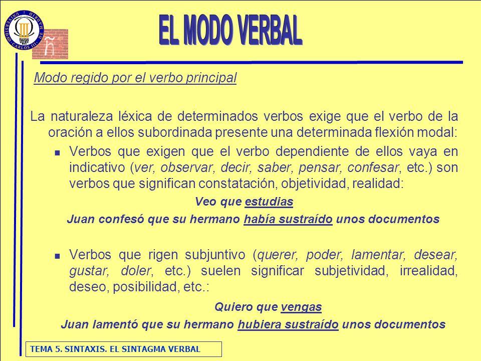 TEMA 5. SINTAXIS. EL SINTAGMA VERBAL Modo regido por el verbo principal La naturaleza léxica de determinados verbos exige que el verbo de la oración a