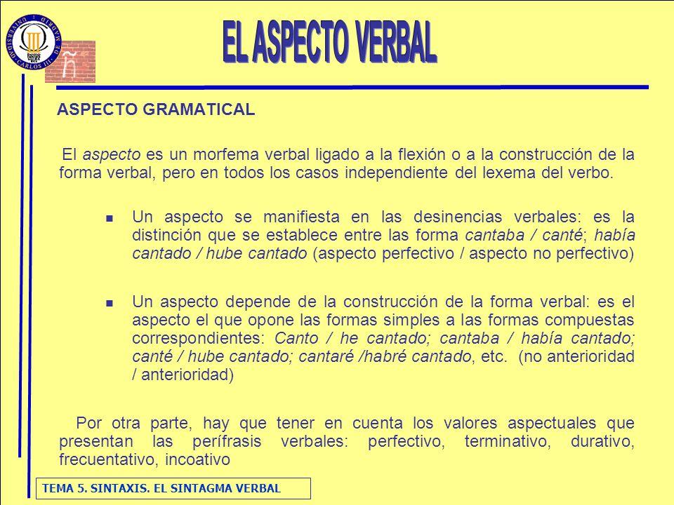 TEMA 5. SINTAXIS. EL SINTAGMA VERBAL ASPECTO GRAMATICAL El aspecto es un morfema verbal ligado a la flexión o a la construcción de la forma verbal, pe