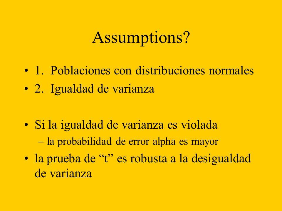 Assumptions. 1. Poblaciones con distribuciones normales 2.