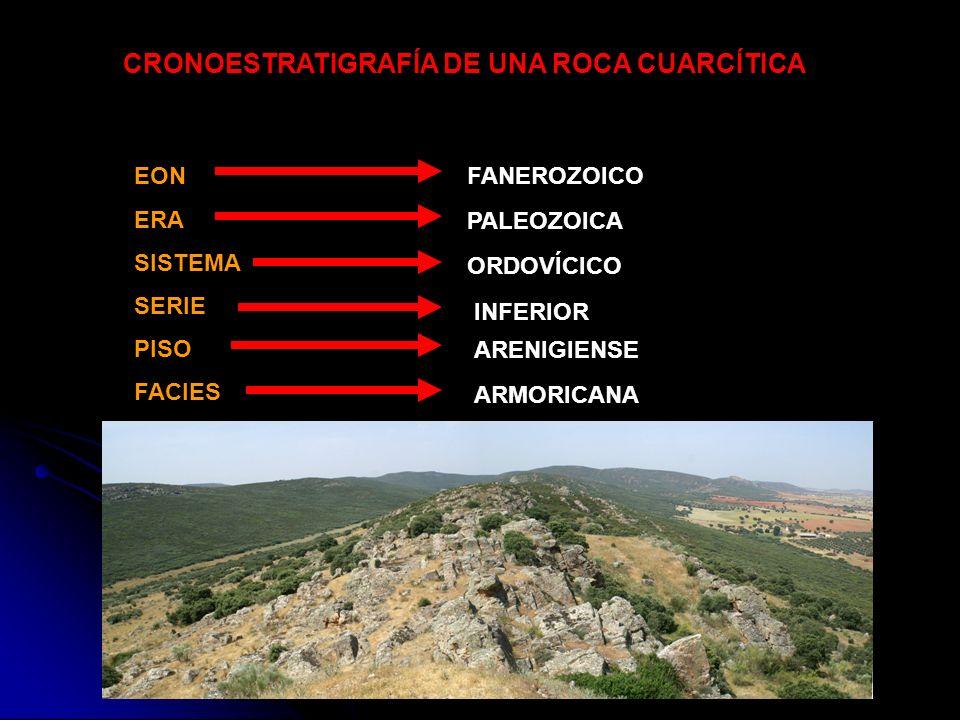 EON ERA SISTEMA SERIE PISO FACIES CRONOESTRATIGRAFÍA DE UNA ROCA CUARCÍTICA ARMORICANA FANEROZOICO PALEOZOICA ORDOVÍCICO INFERIOR ARENIGIENSE