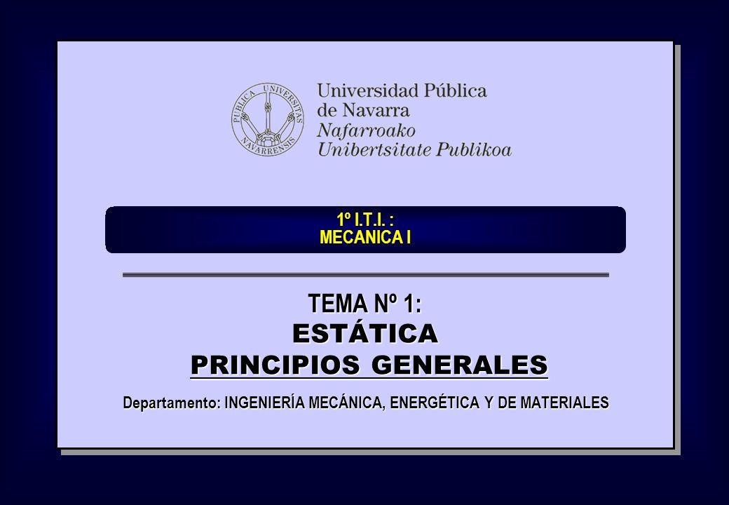 1º I.T.I. : MECANICA I Departamento: INGENIERÍA MECÁNICA, ENERGÉTICA Y DE MATERIALES TEMA Nº 1: ESTÁTICA PRINCIPIOS GENERALES PRINCIPIOS GENERALES