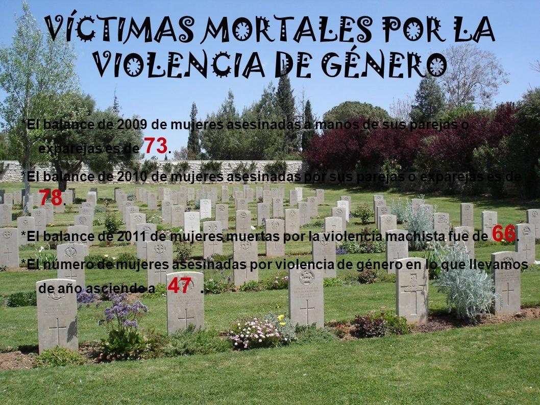 VÍCTIMAS MORTALES POR LA VIOLENCIA DE GÉNERO *El balance de 2009 de mujeres asesinadas a manos de sus parejas o exparejas es de 73. *El balance de 201