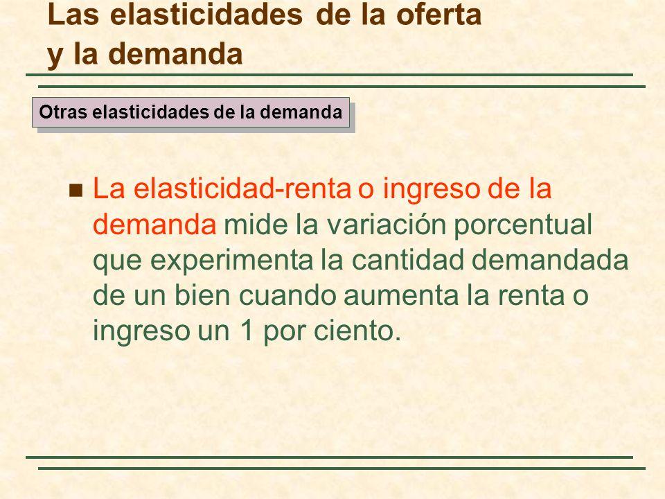 Las elasticidades de la oferta y la demanda La elasticidad-renta o ingreso de la demanda mide la variación porcentual que experimenta la cantidad dema