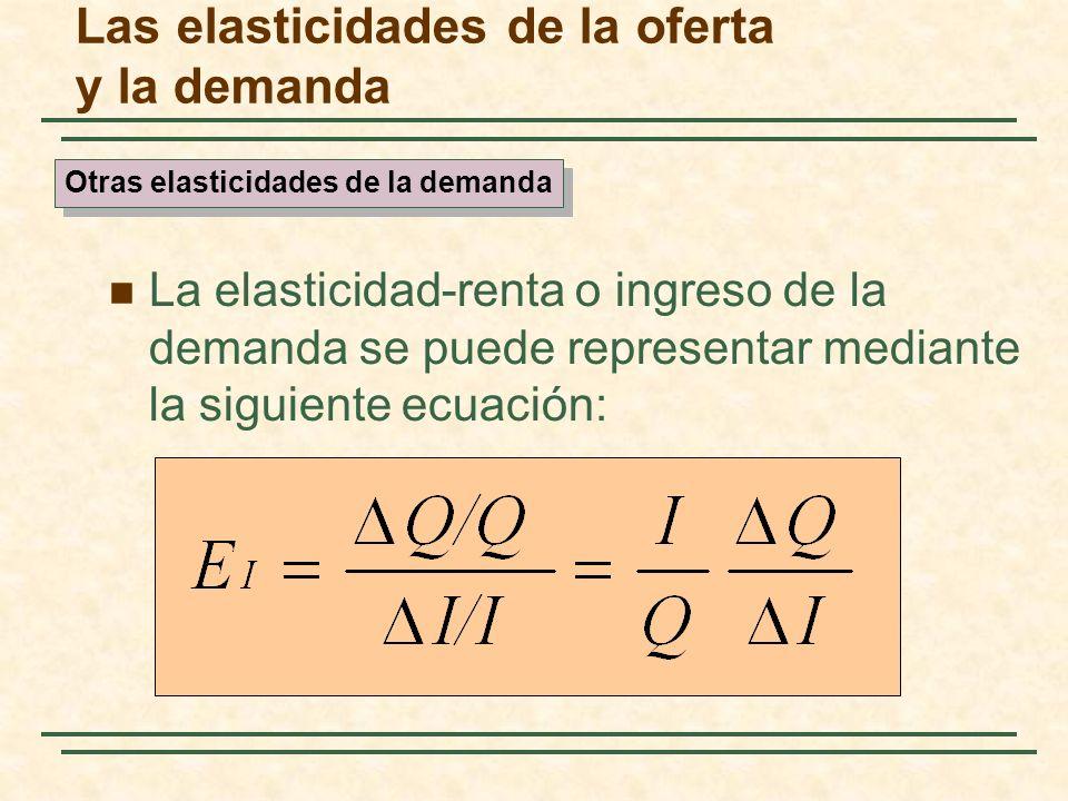 Las elasticidades de la oferta y la demanda La elasticidad-renta o ingreso de la demanda se puede representar mediante la siguiente ecuación: Otras el