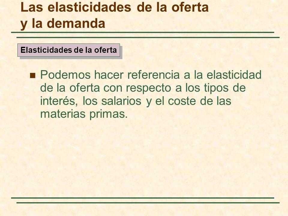Las elasticidades de la oferta y la demanda Podemos hacer referencia a la elasticidad de la oferta con respecto a los tipos de interés, los salarios y