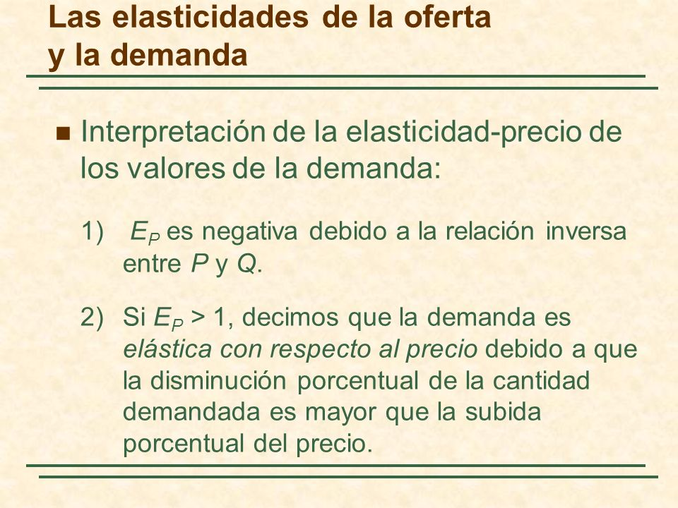 Las elasticidades de la oferta y la demanda Interpretación de la elasticidad-precio de los valores de la demanda: 1) E P es negativa debido a la relac