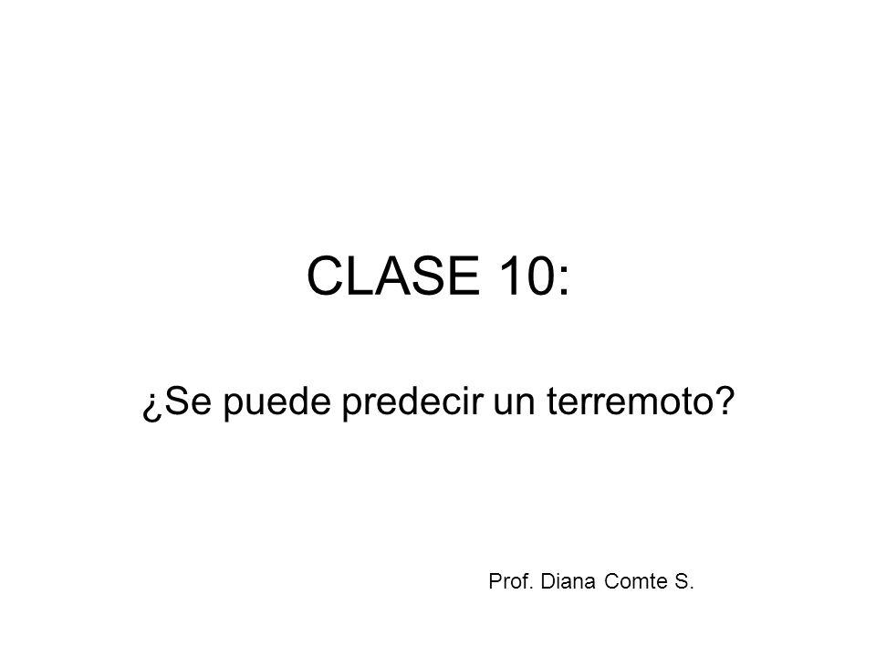 CLASE 10: ¿Se puede predecir un terremoto? Prof. Diana Comte S.