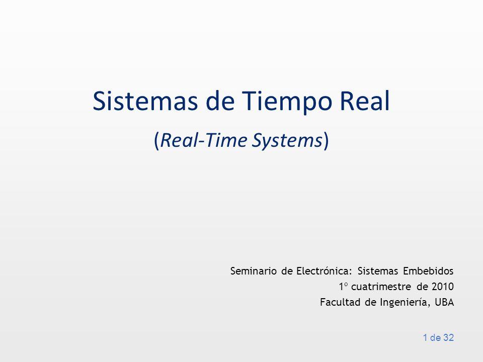 22 de 32 Round-robin (en ronda) Los procesos se ejecutan siempre en la misma secuencia Se usa cuando el multitasking es preemptive, asignándoles, a las tareas, fragmentos de tiempo (o time slices) de igual duración Es útil combinarlo con el algoritmo anterior: Algoritmos de scheduling Q.Li y C.Yao; Real-Time Concepts for Embedded Systems