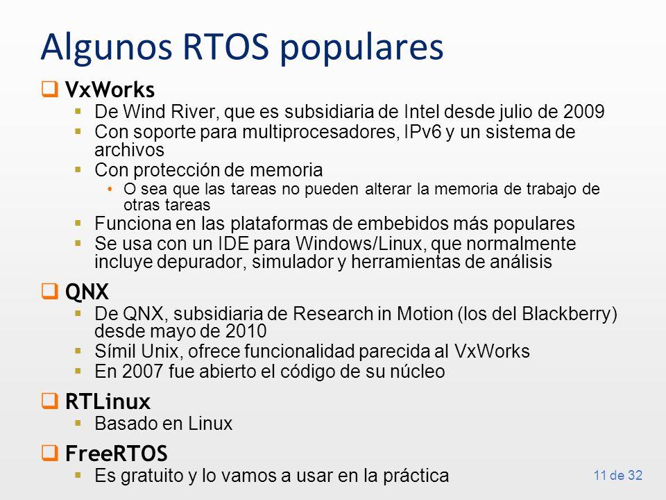 11 de 32 Algunos RTOS populares VxWorks De Wind River, que es subsidiaria de Intel desde julio de 2009 Con soporte para multiprocesadores, IPv6 y un s