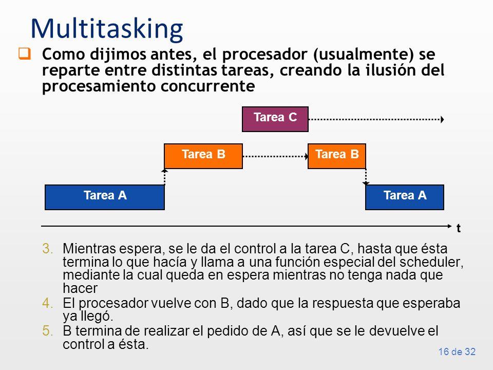 16 de 32 Multitasking Como dijimos antes, el procesador (usualmente) se reparte entre distintas tareas, creando la ilusión del procesamiento concurrente 3.Mientras espera, se le da el control a la tarea C, hasta que ésta termina lo que hacía y llama a una función especial del scheduler, mediante la cual queda en espera mientras no tenga nada que hacer 4.El procesador vuelve con B, dado que la respuesta que esperaba ya llegó.