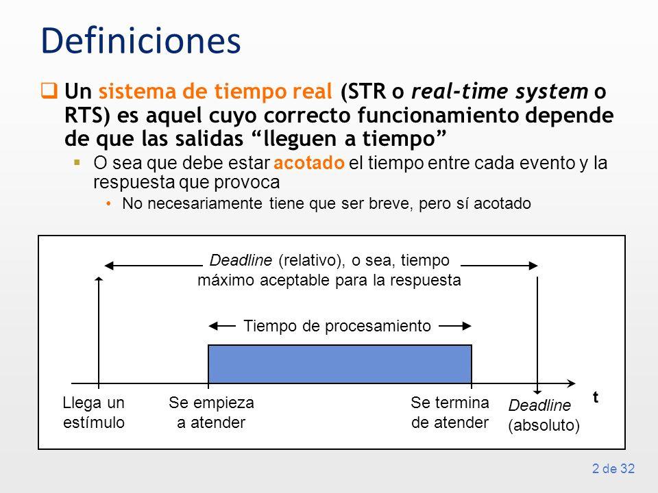 2 de 32 Definiciones Un sistema de tiempo real (STR o real-time system o RTS) es aquel cuyo correcto funcionamiento depende de que las salidas lleguen a tiempo O sea que debe estar acotado el tiempo entre cada evento y la respuesta que provoca No necesariamente tiene que ser breve, pero sí acotado t Llega un estímulo Deadline (absoluto) Se empieza a atender Deadline (relativo), o sea, tiempo máximo aceptable para la respuesta Tiempo de procesamiento Se termina de atender