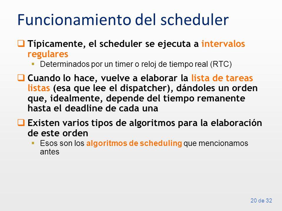 20 de 32 Funcionamiento del scheduler Típicamente, el scheduler se ejecuta a intervalos regulares Determinados por un timer o reloj de tiempo real (RTC) Cuando lo hace, vuelve a elaborar la lista de tareas listas (esa que lee el dispatcher), dándoles un orden que, idealmente, depende del tiempo remanente hasta el deadline de cada una Existen varios tipos de algoritmos para la elaboración de este orden Esos son los algoritmos de scheduling que mencionamos antes