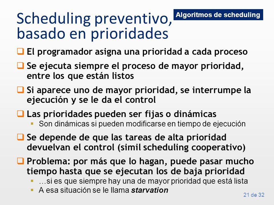21 de 32 Scheduling preventivo, basado en prioridades El programador asigna una prioridad a cada proceso Se ejecuta siempre el proceso de mayor prioridad, entre los que están listos Si aparece uno de mayor prioridad, se interrumpe la ejecución y se le da el control Las prioridades pueden ser fijas o dinámicas Son dinámicas si pueden modificarse en tiempo de ejecución Se depende de que las tareas de alta prioridad devuelvan el control (simil scheduling cooperativo) Problema: por más que lo hagan, puede pasar mucho tiempo hasta que se ejecutan los de baja prioridad …si es que siempre hay una de mayor prioridad que está lista A esa situación se le llama starvation Algoritmos de scheduling