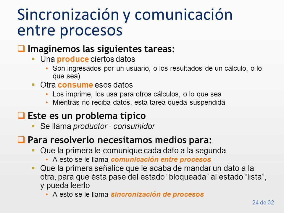 24 de 32 Sincronización y comunicación entre procesos Imaginemos las siguientes tareas: Una produce ciertos datos Son ingresados por un usuario, o los resultados de un cálculo, o lo que sea) Otra consume esos datos Los imprime, los usa para otros cálculos, o lo que sea Mientras no reciba datos, esta tarea queda suspendida Este es un problema típico Se llama productor - consumidor Para resolverlo necesitamos medios para: Que la primera le comunique cada dato a la segunda A esto se le llama comunicación entre procesos Que la primera señalice que le acaba de mandar un dato a la otra, para que ésta pase del estado bloqueada al estado lista, y pueda leerlo A esto se le llama sincronización de procesos