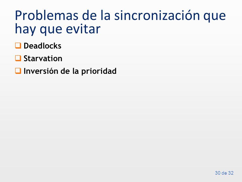 30 de 32 Problemas de la sincronización que hay que evitar Deadlocks Starvation Inversión de la prioridad