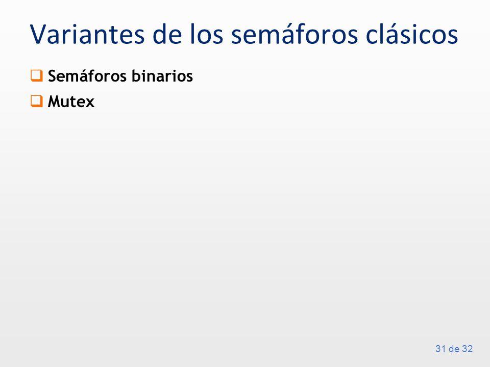 31 de 32 Variantes de los semáforos clásicos Semáforos binarios Mutex