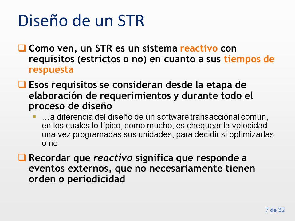 7 de 32 Diseño de un STR Como ven, un STR es un sistema reactivo con requisitos (estrictos o no) en cuanto a sus tiempos de respuesta Esos requisitos