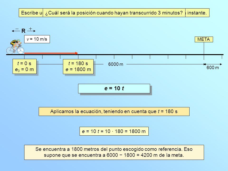 META R 6000 m v = 10 m/s ¿Qué distancia habrá recorrido en esos 3 minutos.