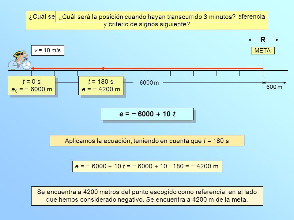 META 6000 m v = 10 m/s ¿Qué distancia habrá recorrido en esos 3 minutos.