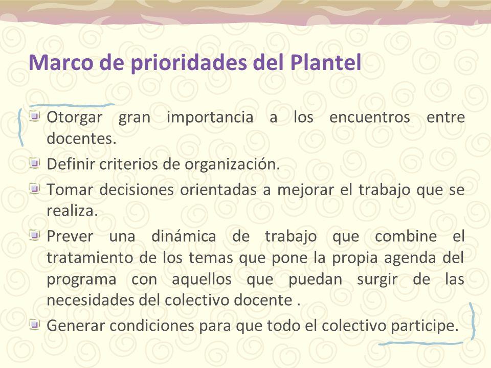 Marco de prioridades del Plantel Otorgar gran importancia a los encuentros entre docentes. Definir criterios de organización. Tomar decisiones orienta