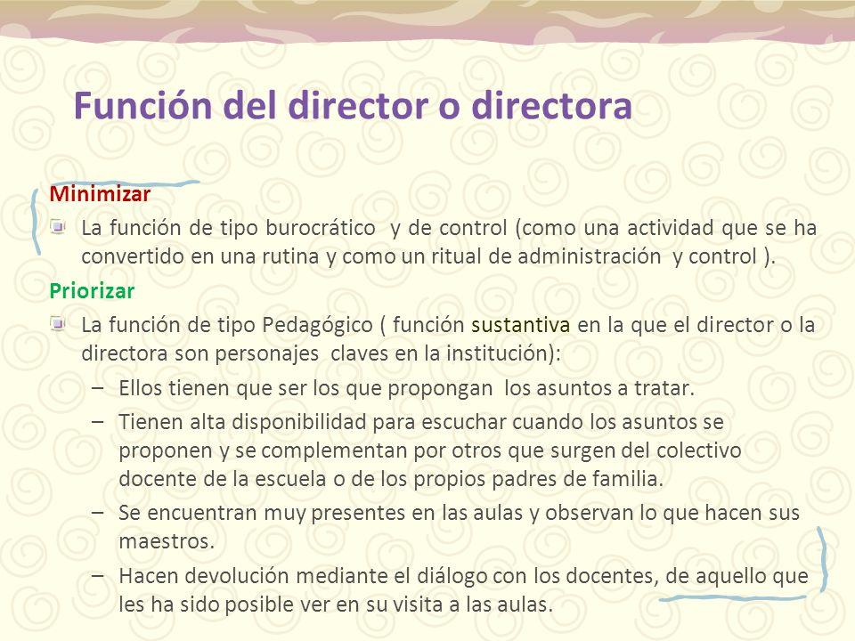 Función del director o directora Minimizar La función de tipo burocrático y de control (como una actividad que se ha convertido en una rutina y como u