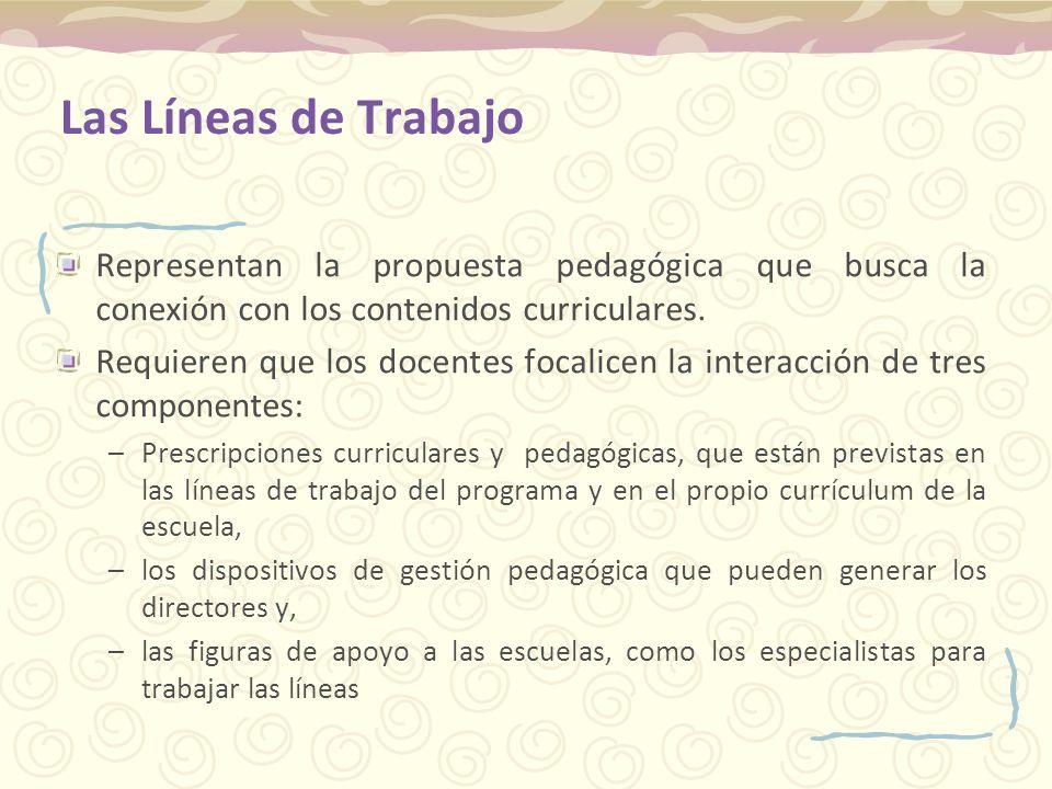 Las Líneas de Trabajo Representan la propuesta pedagógica que busca la conexión con los contenidos curriculares. Requieren que los docentes focalicen