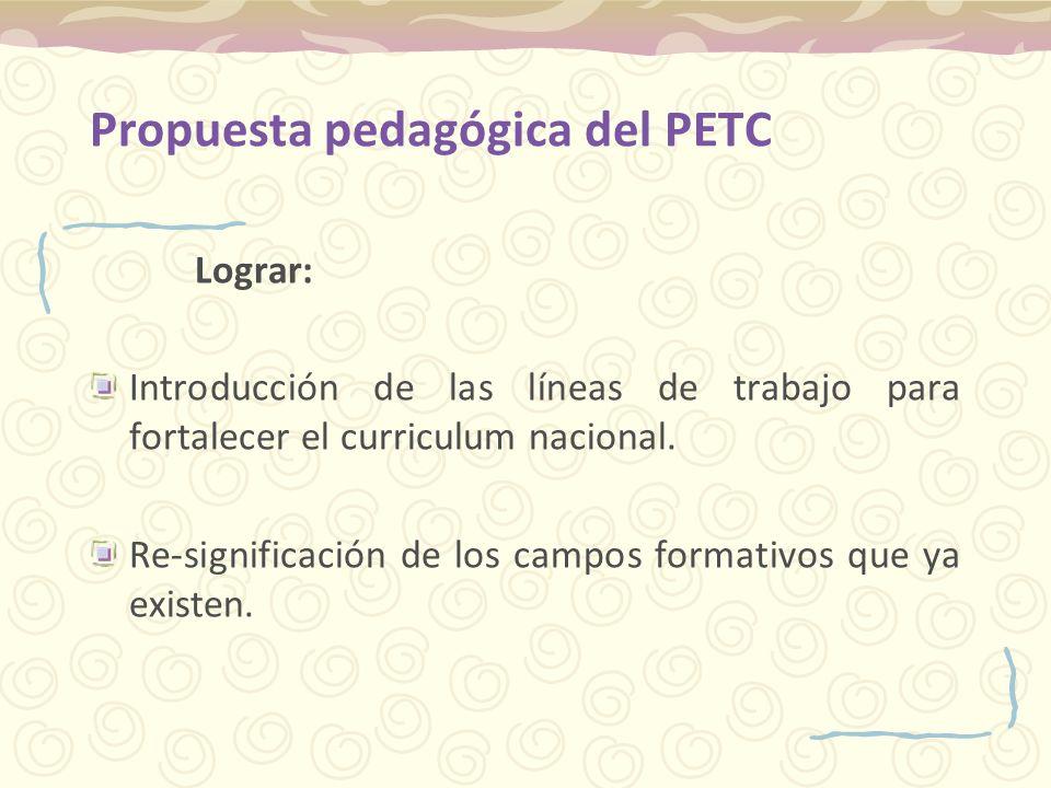 Propuesta pedagógica del PETC Lograr: Introducción de las líneas de trabajo para fortalecer el curriculum nacional. Re-significación de los campos for