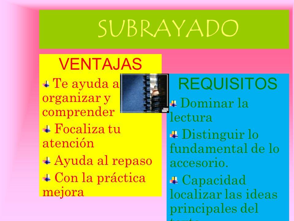 AUTOCONTROL(memorización) Memorizar es el proceso de interiorizar los datos e ideas principales del tema. Ser capaz de dar respuesta a las preguntas q