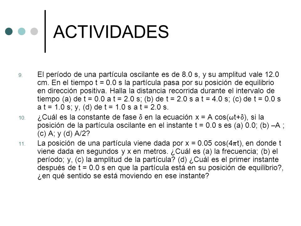 ACTIVIDADES 9. El período de una partícula oscilante es de 8.0 s, y su amplitud vale 12.0 cm. En el tiempo t = 0.0 s la partícula pasa por su posición