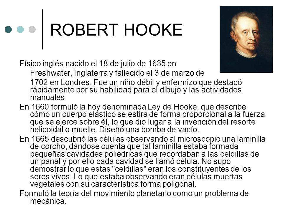 ROBERT HOOKE Físico inglés nacido el 18 de julio de 1635 en Freshwater, Inglaterra y fallecido el 3 de marzo de 1702 en Londres. Fue un niño débil y e