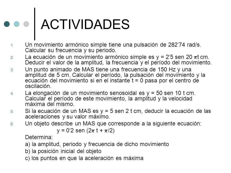 ACTIVIDADES 1. Un movimiento armónico simple tiene una pulsación de 28274 rad/s. Calcular su frecuencia y su periodo. 2. La ecuación de un movimiento