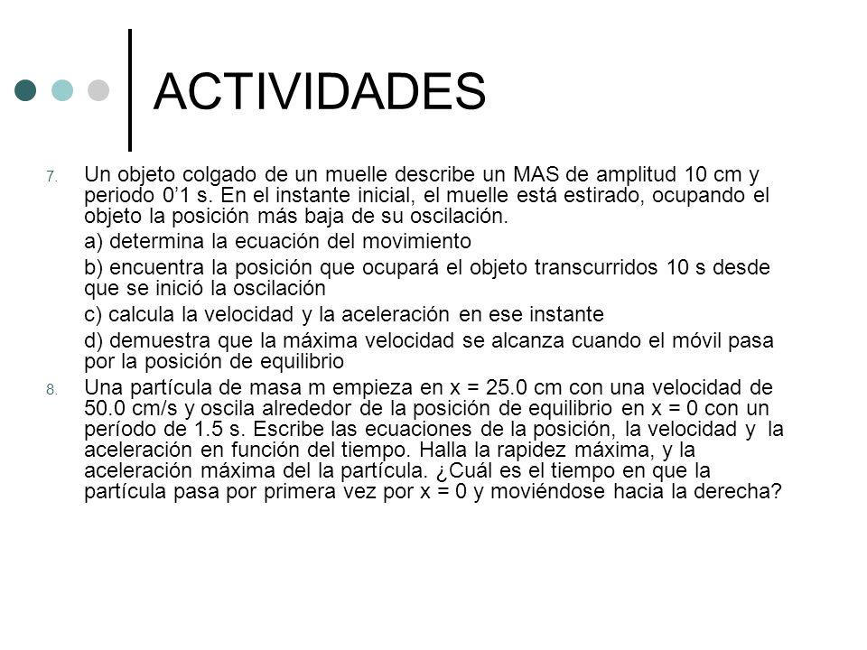 ACTIVIDADES 7. Un objeto colgado de un muelle describe un MAS de amplitud 10 cm y periodo 01 s. En el instante inicial, el muelle está estirado, ocupa