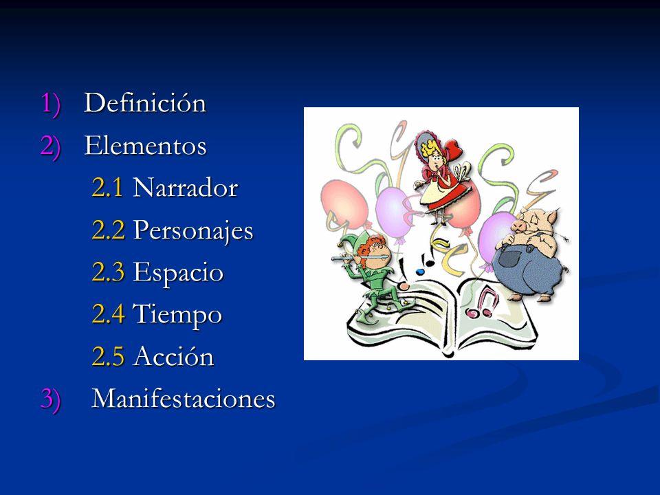 1) Definición 2) Elementos 2.1 Narrador 2.1 Narrador 2.2 Personajes 2.2 Personajes 2.3 Espacio 2.3 Espacio 2.4 Tiempo 2.4 Tiempo 2.5 Acción 2.5 Acción 3) Manifestaciones